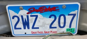 Pickup License Plate from South Dakota