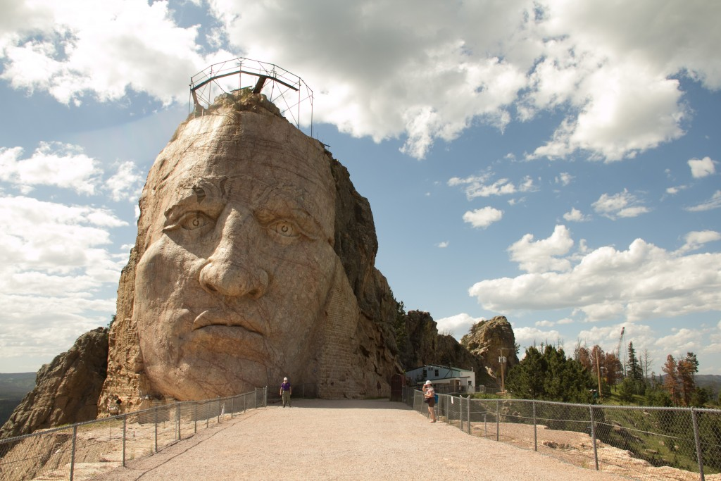 The head of Crazy Horse on the Mountain Top (its 89' high)