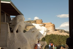 Crazy Horse model with the mountain in the background