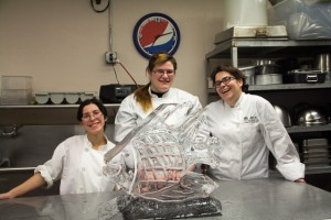 Becca with Ice Carving at Alvin Community College